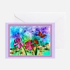 10 - Pink Iris Lavender Boarder Cards - 3 Sizes