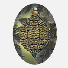 Yellow and Ruby Oval Ornament
