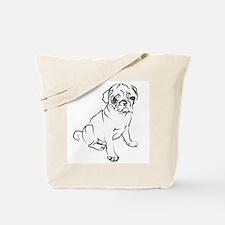 Pug Puppy Art Tote Bag
