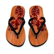 Faux Wood Hibiscus Flip Flops