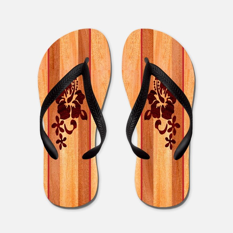 Faux Wood Surfboard Flip Flops