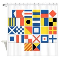 Nautical flags shower curtain for