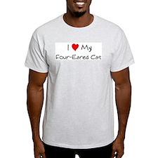 Love My Four-Eared Cat Ash Grey T-Shirt