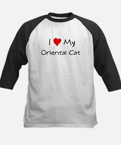 I Love Oriental Cat Kids Baseball Jersey