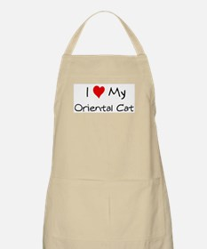 I Love Oriental Cat BBQ Apron