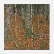Birch Forest by Gustav Klimt Tile Coaster