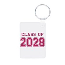 Class of 2028 (Pink) Aluminum Photo Keychain