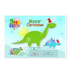 Cute Christmas Cartoon Dinosaur Craft Postcards 8