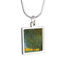 Fruit Trees by Gustav Klim Silver Square Necklace