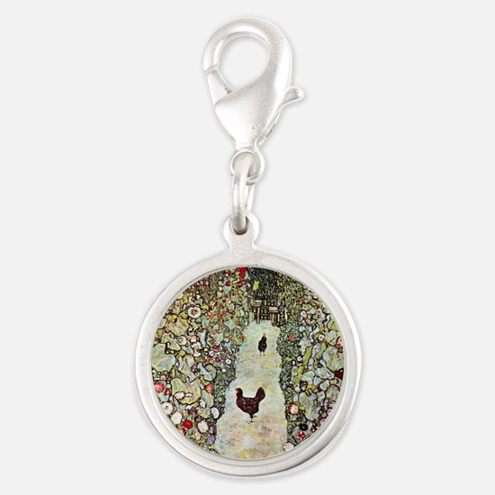 Garden Path with Chickens by K Silver Round Charm
