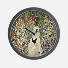 Garden Path with Chickens by Klimt Wall Clock
