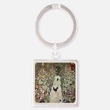 Garden Path with Chickens by Klimt Square Keychain