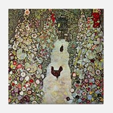 Garden Path with Chickens by Klimt Tile Coaster