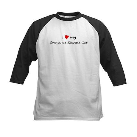 Love My Snowshoe Siamese Cat Kids Baseball Jersey