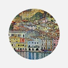 "Malcesine on Lake Garda by Gustav Klim 3.5"" Button"