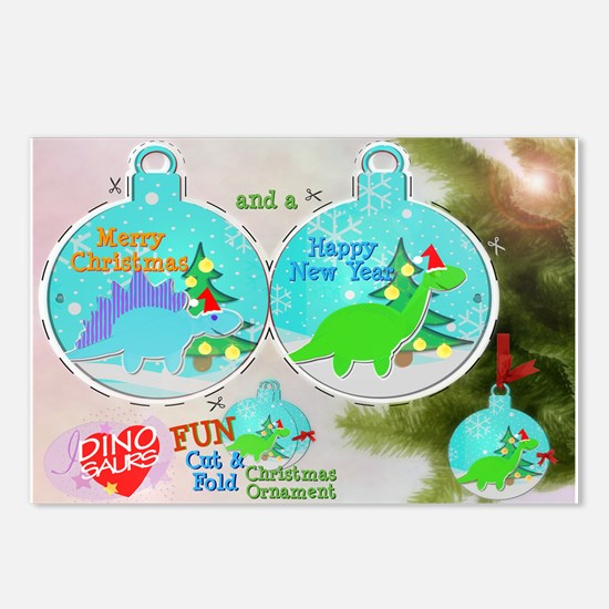 Merry Christmas Cute Dinos PaperCraft Postcards 8