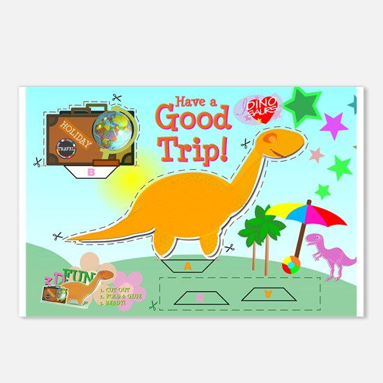 Good Trip Cartoon Dino PaperCraft Postcards 8 Pack