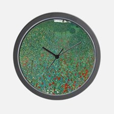 Poppy Field by Gustav Klimt Wall Clock