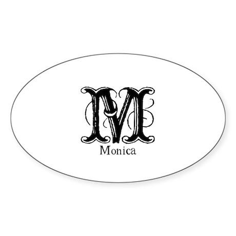 Monica: Fancy Monogram Oval Sticker