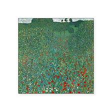 """Poppy Field by Gustav Klimt Square Sticker 3"""" x 3"""""""