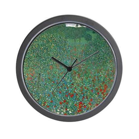 Poppy Field by Gustav Klimt Wall Clock