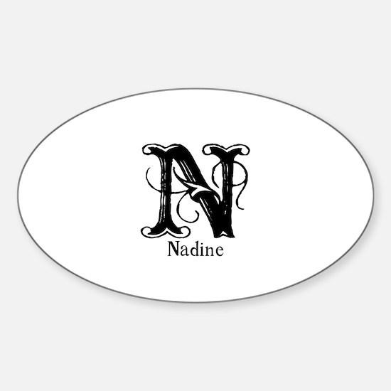 Nadine: Fancy Monogram Oval Decal