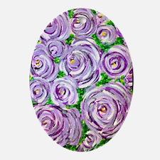 Sparkling Lavender Roses Oval Ornament
