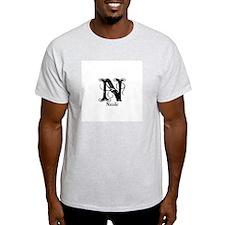 Nicole: Fancy Monogram Ash Grey T-Shirt
