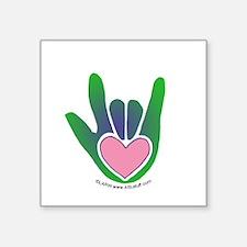 Green/Pink Heart ILY Hand Sticker