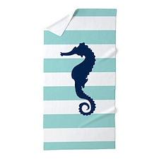 Blue Seahorse on Mint Stripes Beach Towel