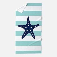 Blue Starfish on Mint Stripes Beach Towel