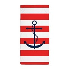 Blue Anchor on Red Stripes Beach Towel