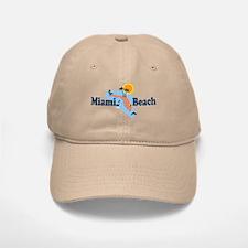 Miami Beach - Map Design. Baseball Baseball Cap