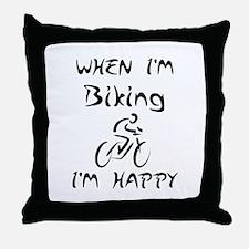 Biking (Black) Throw Pillow