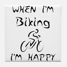 Biking (Black) Tile Coaster