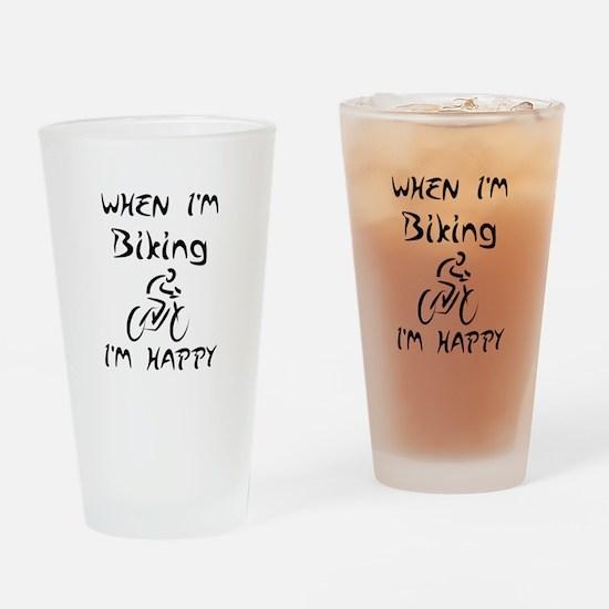 Biking (Black) Drinking Glass