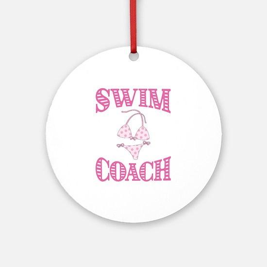 Swim Coach Round Ornament