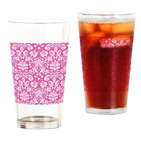 Hot pink damask pattern Drinking Glass