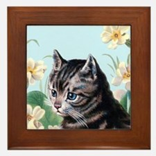 Cute kitten - vintage cat Framed Tile