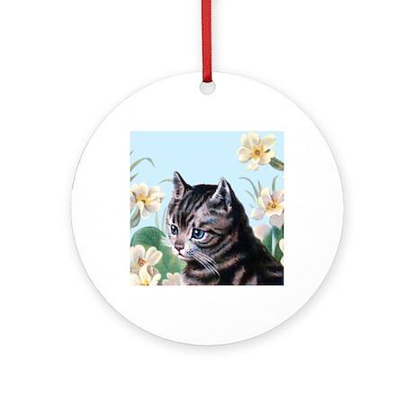 Cute kitten - vintage cat Round Ornament