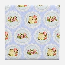 Baby blue Victorian floral pattern Tile Coaster