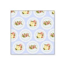 """Baby blue Victorian floral  Square Sticker 3"""" x 3"""""""