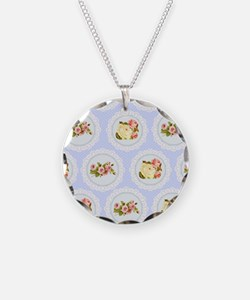 Baby blue Victorian floral p Necklace