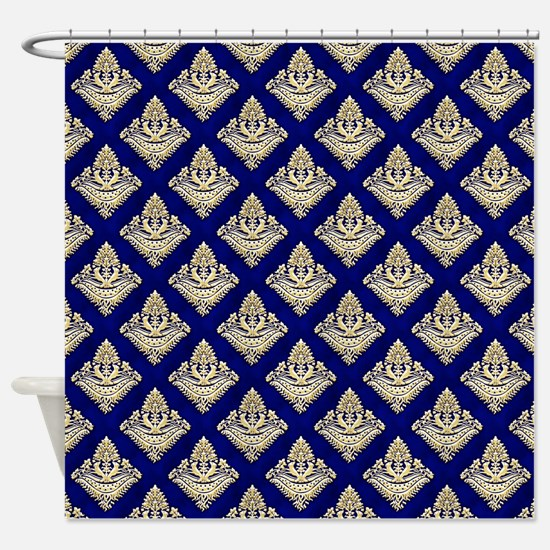 Elegant Medieval Blue Pattern Shower Curtain