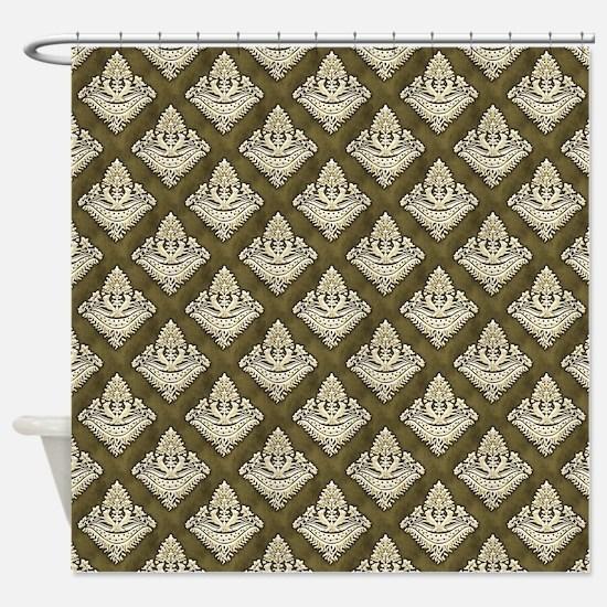 Elegant Medieval Olive Green Shower Curtain