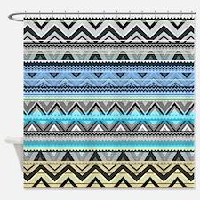 Mix #76, Blue Aztec Shower Curtain