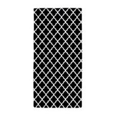 Black and White Quatrefoil Beach Towel
