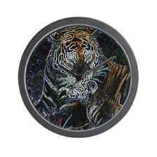 Neon tiger and cub art Wall Clock