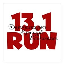 "13.1 Run Red Square Car Magnet 3"" x 3"""