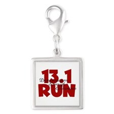 13.1 Run Red Silver Square Charm